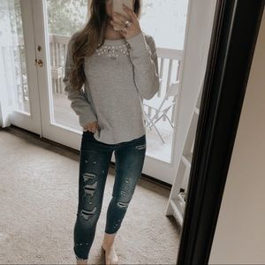 Ann Taylor Beaded Gray Pullover Sweater